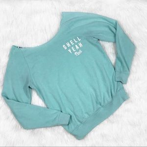 VS PINK Shell Yeah Off The Shoulder Sweater Small
